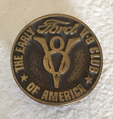 Vintage Original FORD V8 Brass Belt Buckle - The Early V-8 Club Of America
