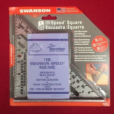 "Brand New Swanson 7"" Speed Square Layout Tool B0101 w/ Blue Book - Free Shipping"