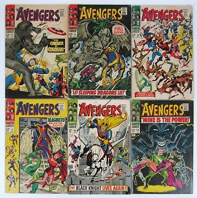 Avengers #37 #41 #44 #47 #48 #49  Silver Age Marvel Lot