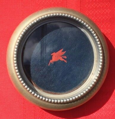 Vintage Mobil Gas and Oil Pegasus Flying Horse Silver & Red Ashtray