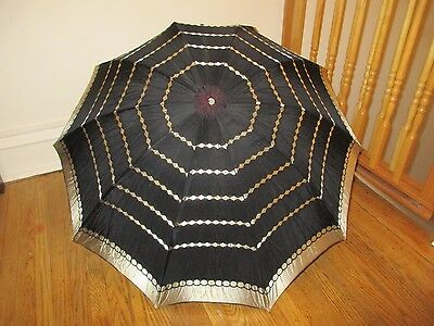 Vintage Black & Gold Umbrella Parasol with Lucite Handle