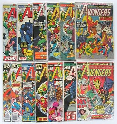 Avengers #131-149 Lot of 13 Bronze Age Marvel Comics Vision Iron Man Beast