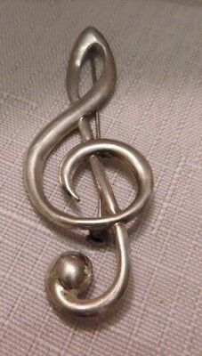Vintage BEAU 925 STERLING Silver Music TREBLE CLEF Pin BROOCH 1960s