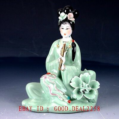Chinese Porcelain Handmade Carved beauty Women statue CX003