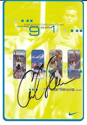 Carl Lewis ~ Olympic Champion ~ Hand Signed Autograph On Nike Card