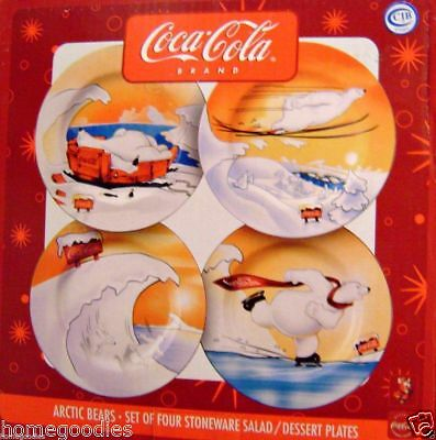 Coca-Cola ARCTIC BEARS Coke Salad Dessert Plates Boxed Set of 4 Different NEW