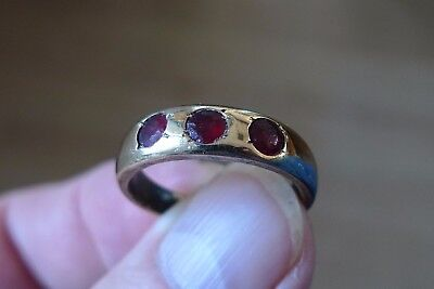 British Uk Metal Detecting Find Stunning Medieval Tudor Ladies Ring 3 Garnets