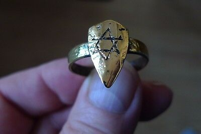 British Uk Metal Detecting Find Templar Ring Crusaders Pentagram Star Of David