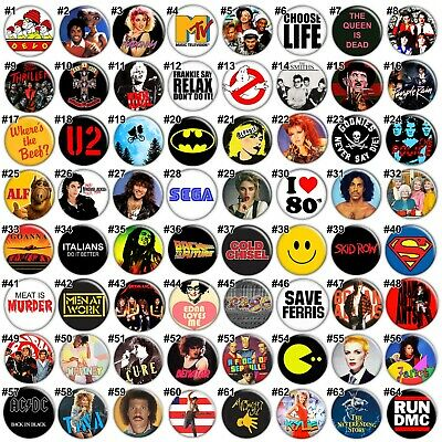 "RETRO 1980s PARTY BADGES - 35mm 1.37"" Pins Michael Jackson Madonna 80s Bulk MTV"