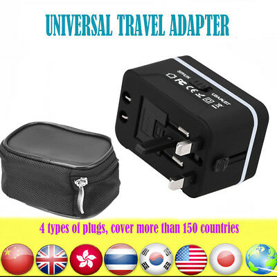 Universal AU/UK/US/EU Dual USB Travel Wall Power Charger Adapter Plug Converter
