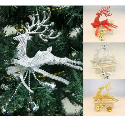 3x Christmas Tree Reindeer Elk Deer Bell Ornament Pendant of Party Hanging Decor