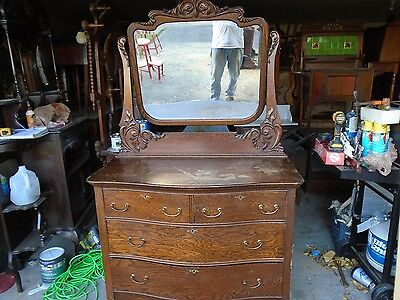 antique oak bowfront dresser with mirrow