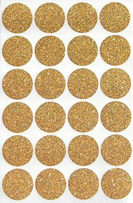 Gold Color Round Glitter Sparkly Labels Circle 1 Inch 25mm Stickers 360 Pack