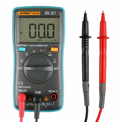 DM198 Pocket Digital Multimeter 2000 Counts Autorang Voltmeter Ammeter Tester
