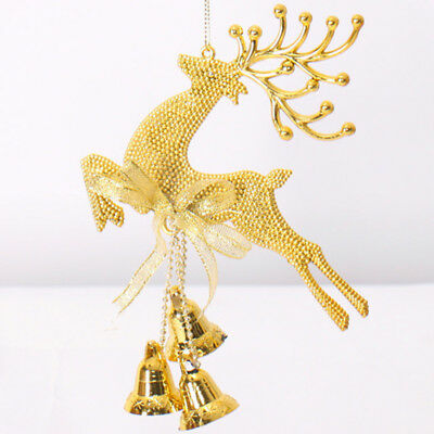 Christmas Tree Reindeer Elk Deer Bell Ornament Pendant of Hanging Decor Gold