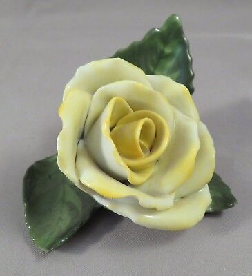 """2"""" Herend Hungary Porcelain Handpainted Yellow Rose Flower Placecard Holder 9105"""
