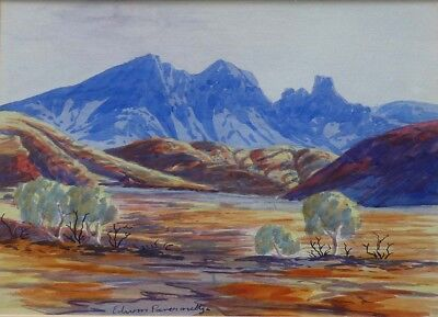 Edwin Pareroultja 1918-1986 Hermannsburg watercolour painting, framed & glassed