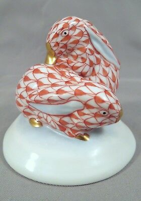 """2"""" Herend Hungary Porcelain Rust Red Fishnet 24K Gold Pair of Bunny Rabbits 5333"""