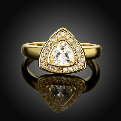 YUT  18K Yellow Gold [283] 2017 New Pattern Romantic Delicacy Ring Czech Stone