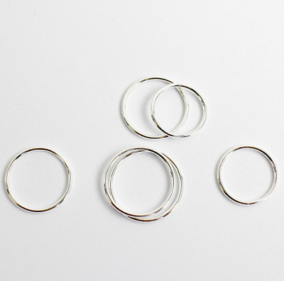 1.2mm CLASSIC Women Real S925 Sterling Silver Fine Line Ring Joint Tail Ring