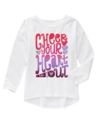 Gymboree Gymgo Active Glitter Cheer Your Heart Out White Shirt Girls NWT S 5 6