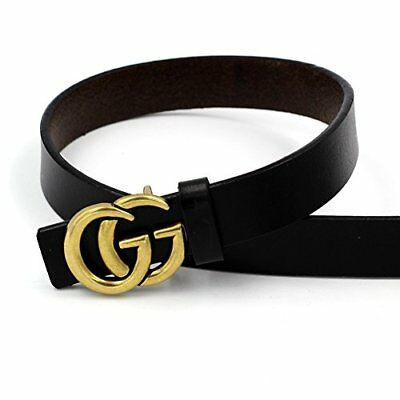 Women Genuine Leather Thin Fashion Belt fr Jeans 0.9″ Wide w Letter Buckle Black