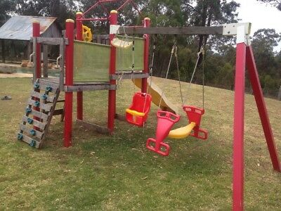 Bunnings Camelot Play Set 2 Sided Swing Cubby Slide Ship gym equipment climbing