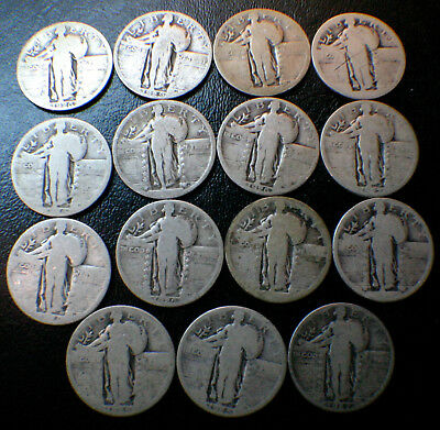 Standing Liberty Quarter Silver Coin Lot $3.75 Face Value, 90% Silver, 25C Coins