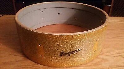 1950's-1960's Rogers Spotlight 6 Lug Snare Shell Gold Sparkle