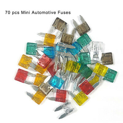 70Pcs lot Mini Blade Fuse Assortment Set Auto Car Truck Motorcycle SUV Fuses Kit