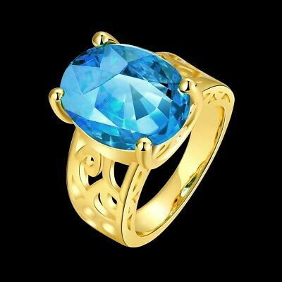 18K Yellow Gold MIL[44] Handmade Simple 2017 Pattern Natural Blue Topaz 1D64
