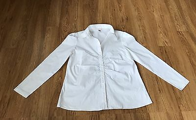 bababoom Brand Maternity Size 16 White Long Sleeved Button up Shirt/Top