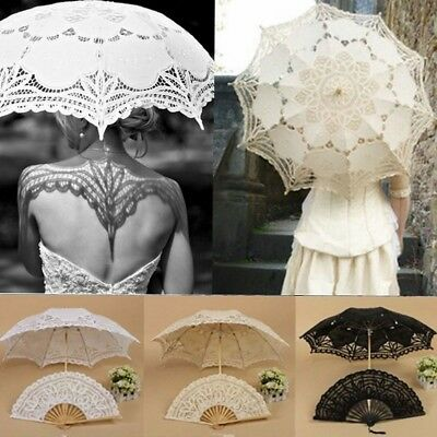 Vintage Handmade Cotton Parasol Lace Umbrella Party Wedding Bridal Decoration US