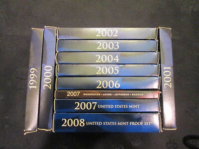 1999 - 2008 US Mint Proof 9 coin Sets in Original Packaging with COA; 10 diff