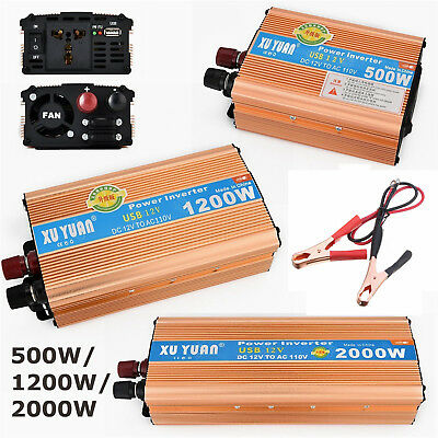 Car Power Inverter 1200 2000W DC 12 V To AC 110V 60Hz Charger Adapter Sine Wave