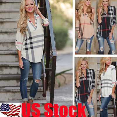 US Womens Lady Long Sleeve Loose Blouse Summer V Neck Casual Shirt Tops Tee S-XL