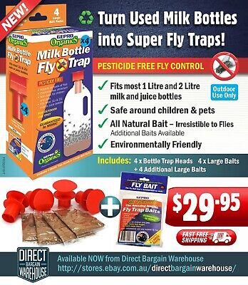 Fly Trap Outside Organic , Pesticide Free Fly Trap With  4 Extra Baits