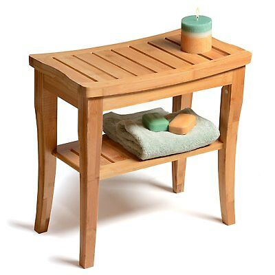 Spa Bamboo Shower Bench Seat Safety Bath Chair Stool Towels Shelf