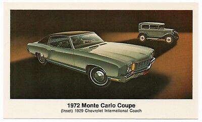 1972 Chevrolet MONTE CARLO COUPE 29 Chevy Coach Dealer Promo Postcard UNUSED VG+