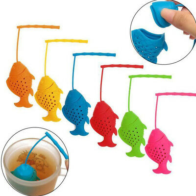 Reusable Silicone Fish Loose Tea Bag Holder Infuser Filter Perforated Strainer