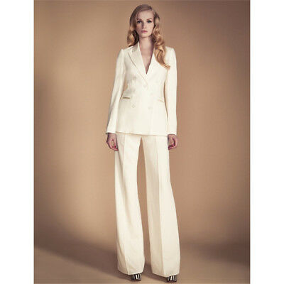 Ivory Women Business Suit Formal Double Breasted Office Uniform