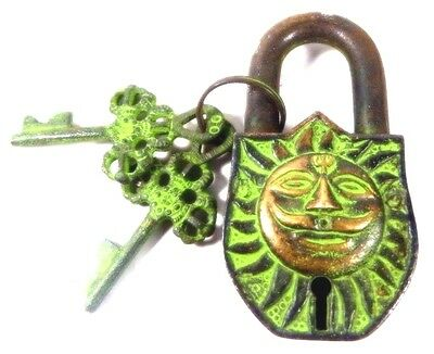 Sun Design Handmade Antique Brass Padlock With Unique Key/Working Condition
