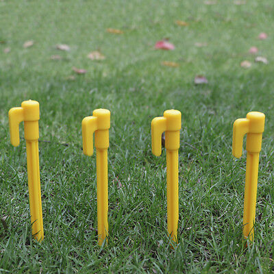 10pcs Set Yellow Plastic Tent Pegs Nails Sand Ground Stakes Camping Awning Pop*