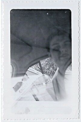 Vintage Photo Snapshot ca.1940s/50s DOUBLE EXPOSURE Woman In Car Drive-In Sign?