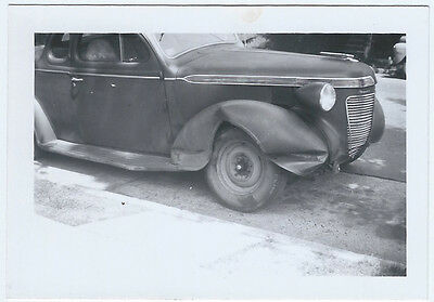 2 Vintage Photo Snapshots OUCH! 1937 CHRYSLER COUPE Car Wreck Banged Fender VG+