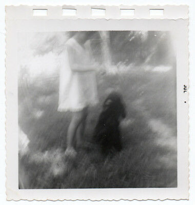 Vintage Photo Snapshot 1950s-60s BLURRY LIttle GIRL & DOG Artsy Ghostly Ethereal