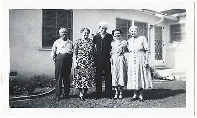 Vintage Photo Snapshot ca.1951 FAMILY Group Pose California In February w Sailor