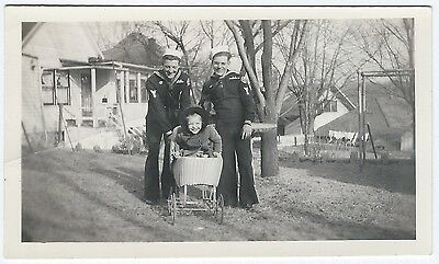 Vintage Photo Snapshot 1940s HAPPY SAILORS Push Little Girl In Baby Carriage VG+