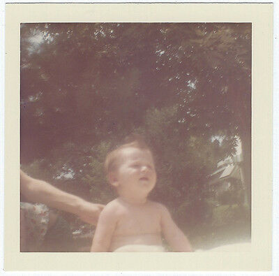 Vintage Photo Snapshot 1960s NOT HAPPY BABY Getting BACK PATTED Mid-Cent-Modern