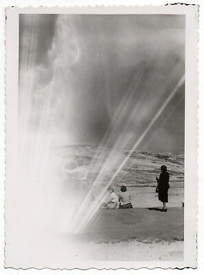 Vintage Photo Snapshot LIGHT LEAK Appears To Be A Geyser Or Explosion Outside